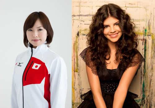 モントリオール出身のシンガー、ニッキーとカーリング日本代表、近江谷杏奈 (c)Listen Japan