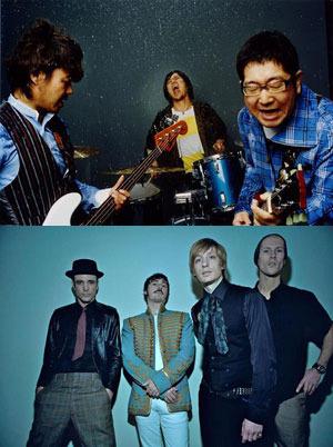 ライヴ対決が実現したサンボマスターとクーラ・シェイカー (c)Listen Japan
