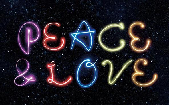 「Peace & Love」ロゴ (okmusic UP\'s)