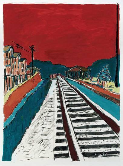ボブ・ディランの水彩画代表作『Train Tracks (RED SKY)』 (c)Listen Japan