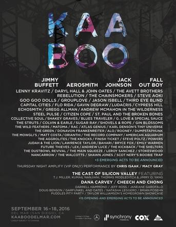 9月16~18日はサンディエゴ、デルマーにある競馬場で開催されるKAABOO(カブー) (okmusic UP's)