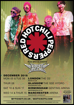 『RED HOT CHILI PEPPERS UK Tour』告知画像 (okmusic UP\'s)