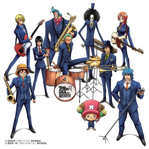 「ワンピース」のキャラクターたちがスカパラの楽器を手にしたイラスト 上段左からサンジ、フランキー、ブルック、ナミ 中段左からロビン、ゾロ、ウソップ 下段左からルフィ、チョッパー、トリコ (c)ListenJapan