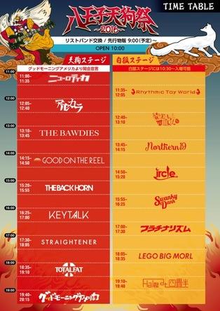 「八王子天狗祭2016」タイムテーブル (okmusic UP's)