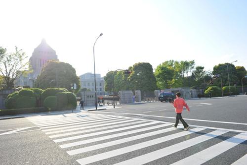 の子(Vo.Gt)と思われる人物が国会議事堂へと向かう意味深な写真 (c)Listen Japan