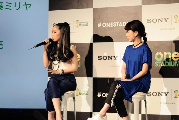 中島美嘉×加藤ミリヤが2014 FIFA ワールドカップ スペシャル・イベント「ONE STADIUM at Sony Building」オープニング・イベントに参加 (okmusic UP's)