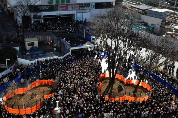 2月12日@東京・新宿アルタのオーロラビジョン前 (okmusic UP's)
