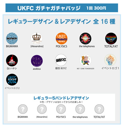 「UKFC on the Road 2014」ガチャガチャバッジ (okmusic UP's)