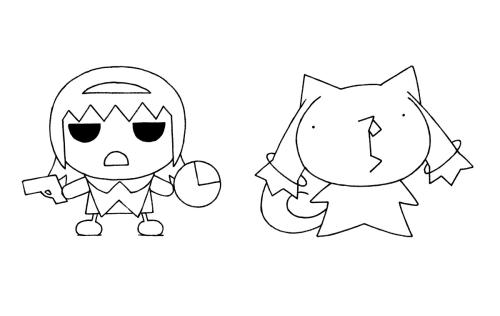 針玉ヒロキデザインによるほむら&キュゥべえイラスト (C)Magica Quartet/Aniplex・Madoka Movie Project Rebellion(okmusic UP\'s)
