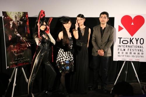 『BAYONETTA Bloody Fate』舞台挨拶登壇者のみなさん (C)SEGA/BAYONETTA FILM CLUB(okmusic UP\'s)
