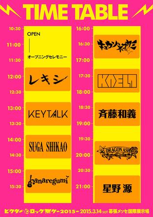 「ビクターロック祭り2015」タイムテーブル (okmusic UP's)