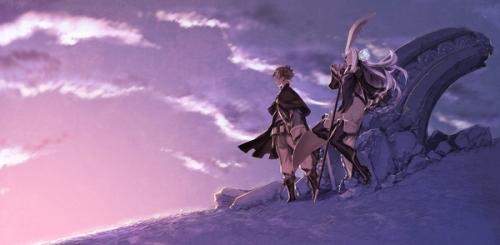 三輪士郎が制作を担当した、「Great Distance」ジャケットイラスト。「ブレイブリーセカンド」のキャラクター・ユウとマグノリアが描かれている