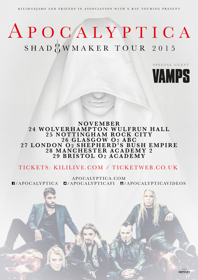 「Apocalyptica Shadowmaker UK Tour 2015」