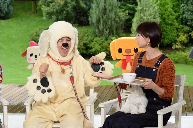 「ペットの王国 ワンだランド」MCの関根勤と篠田麻里子 (C)テレビ朝日
