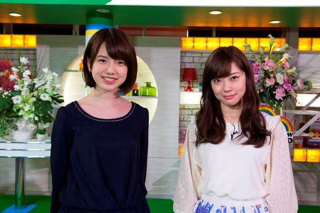 渡辺美優紀(NMB48 兼AKB48)と弘中綾香(テレビ朝日アナウンサー)が共演 (C)AKBホラーナイト製作委員会