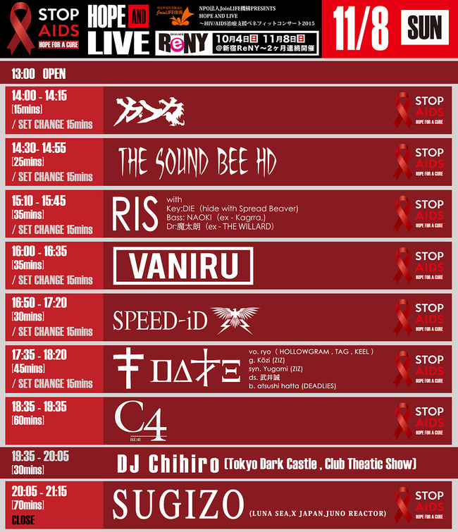 「HOPE AND LIVE2015 DAY-2」タイムテーブル
