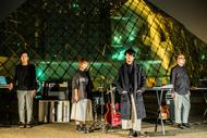 L→R Hiroshi(Sequence&Percussion)、Airi(Dr)、K(Vo&Gu&Key&Programming)、sujin(Bassguitar&SynthBass) (okmusic UP's)