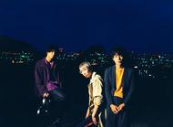 """L→R 藤田朋生(Gu&Cho)、萩原""""チャー""""尚史(Ba&Cho)、吉崎拓也(Vo&Gu) (okmusic UP's)"""